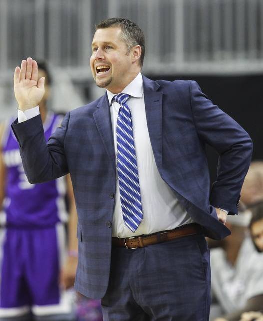 Sacramento Kings head coach David Joerger motions to his team during a preseason basketball game against the Los Angeles Lakers at the T-Mobile Arena in Las Vegas on Thursday, Oct. 13, 2016. Chase ...