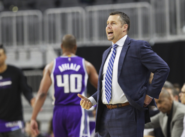 Sacramento Kings head coach David Joerger works the sideline during a preseason basketball game against the Los Angeles Lakers at the T-Mobile Arena in Las Vegas on Thursday, Oct. 13, 2016. Chase  ...