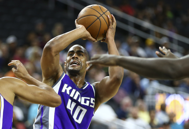 Sacramento Kings guard Arron Afflalo (40) looks to shoot against the Los Angeles Lakers during a preseason basketball game at the T-Mobile Arena in Las Vegas on Thursday, Oct. 13, 2016. Chase Stev ...