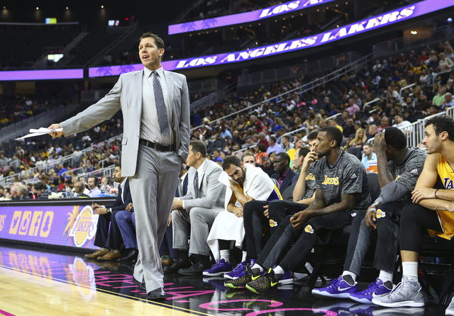 Los Angeles Lakers head coach Luke Walton reacts during a preseason basketball game against Sacramento Kings at the T-Mobile Arena in Las Vegas on Thursday, Oct. 13, 2016. Chase Stevens/Las Vegas  ...