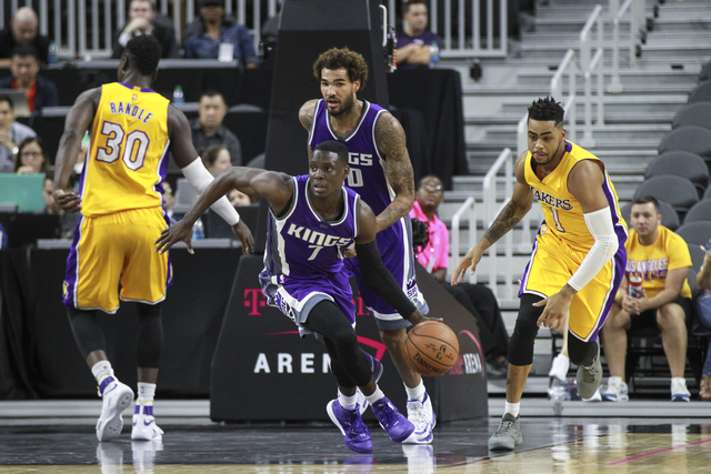Sacramento Kings guard Darren Collison (7) brings the ball up court during a preseason basketball game against the Los Angeles Lakers at the T-Mobile Arena in Las Vegas on Thursday, Oct. 13, 2016. ...