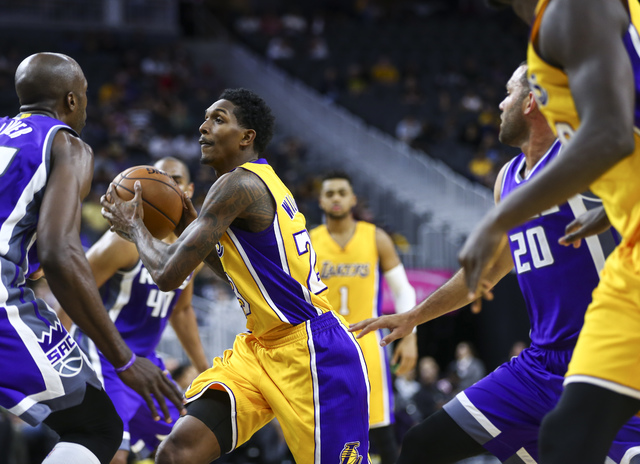 Los Angeles Lakers guard Louis Williams (23) drives towards the basket during a preseason basketball game at the T-Mobile Arena in Las Vegas on Thursday, Oct. 13, 2016. The Sacramento Kings won 11 ...