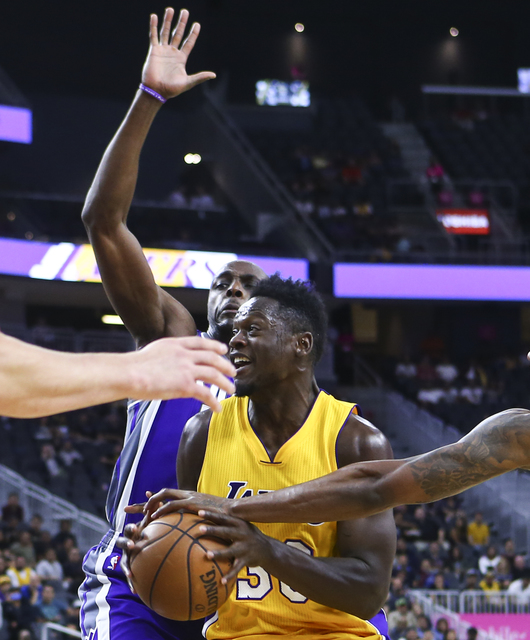 Los Angeles Lakers forward Julius Randle (30) looks to shoot against the Sacramento Kings during a preseason basketball game at the T-Mobile Arena in Las Vegas on Thursday, Oct. 13, 2016. The Sacr ...