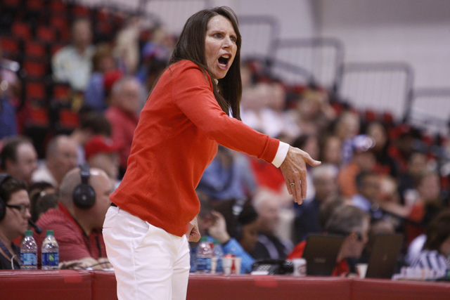 UNLV's head coach Kathy Olivier reacts during a play in their women's basketball game against New Mexico at Cox Pavilion in Las Vegas Saturday, Feb. 21, 2015. UNLV won 79-73. (Erik Verduzco/Las Ve ...