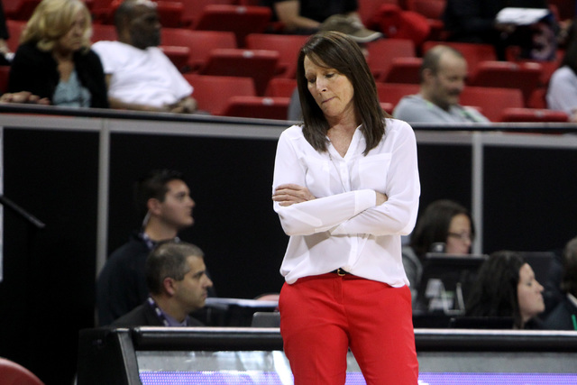 UNLV head coach Kathy Olivier reacts as Boise State add to their lead during the second half of their Mountain West Conference tournament game Tuesday, March 10, 2015, at the Thomas & Mack Cen ...