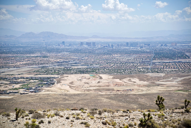 The Las Vegas Strip is visible from the edge of the site of a proposed community at the Blue Diamond Hill Gypsum mine near the town of Blue Diamond on Thursday, Aug. 11, 2016. Daniel Clark/Las Veg ...