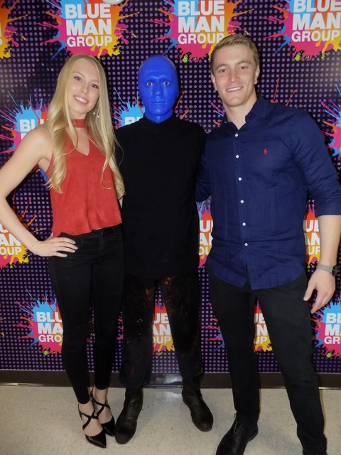 """BMX biker Connor Fields, the Henderson resident won American gold at the 2016 Olympics, saw """"Blue Man Group"""" with his girlfriend Friday in the Luxor hotel. (courtesy)"""