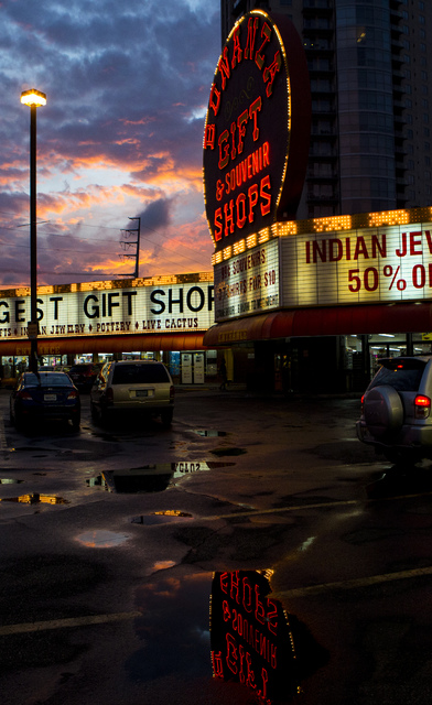 The sun sets behind Bonanza Gift Shop in Las Vegas, on Monday, Oct. 24, 2016. The gift shopճ operator, Haim Gabay, bought the 2-acre property at the northwest corner of Las Vegas Boulevard a ...