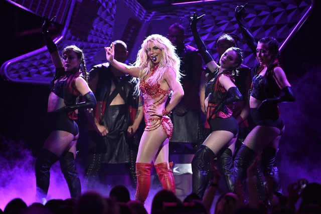Britney Spears, shown performing at the Billboard Music Awards in May is raising money for the Nevada Childhood Cancer Foundation. (Chris Pizzello/Invision/AP, File)