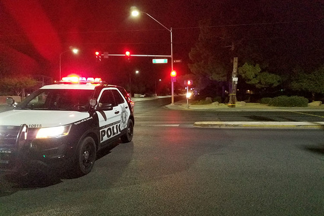 Police block off Bruce street after a fatal hit-and-run. (Mike Shoro/Las Vegas Review-Journal)