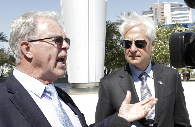 Cliven Bundy's former attorney, Joel Hansen, left, and Washington, D.C., attorney Larry Klayman address the media outside the Lloyd George U.S. Courthouse on May 25, 2016. Bizuayehu Tesfaye/Las Ve ...