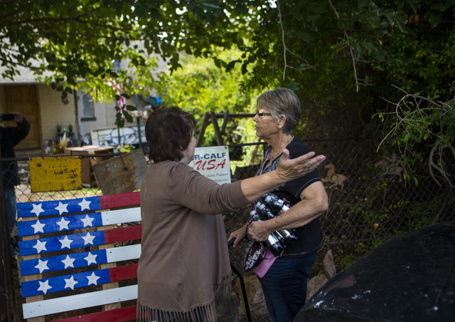 Carol Bundy, wife of rancher Cliven Bundy, greets sister-in-law Key Sessions at Bundy Ranch in Bunkerville on Friday, Oct. 28, 2016. Members of an armed group that staged a takeover of the Malheur ...