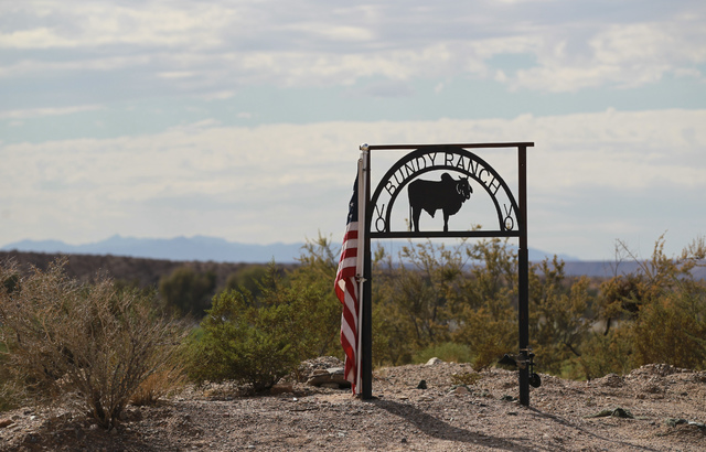 The entrance to Bundy Ranch in Bunkerville is shown on Friday, Oct. 28, 2016. Chase Stevens/Las Vegas Review-Journal Follow @csstevensphoto