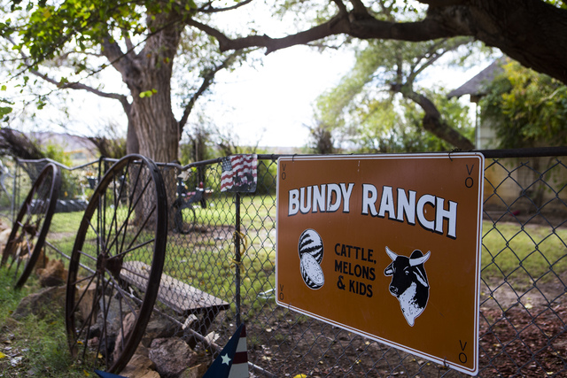 A sign is shown at Bundy Ranch in Bunkerville on Friday, Oct. 28, 2016. Members of an armed group that staged a takeover of the Malheur National Wildlife Refuge near Burns, Ore., including Ammon a ...