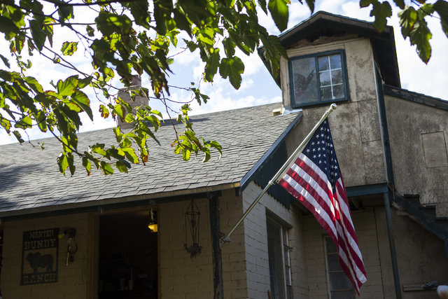 A flag is shown on a home at Bundy Ranch in Bunkerville on Friday, Oct. 28, 2016. Members of an armed group that staged a takeover of the Malheur National Wildlife Refuge near Burns, Ore., includi ...