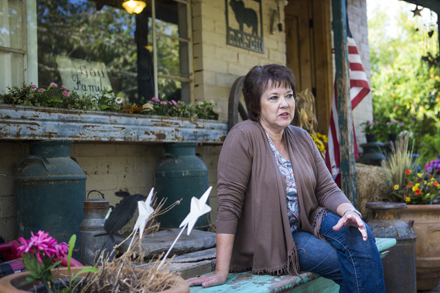 Carol Bundy, wife of rancher Cliven Bundy, speaks at Bundy Ranch in Bunkerville on Friday, Oct. 28, 2016. Members of an armed group that staged a takeover of the Malheur National Wildlife Refuge n ...