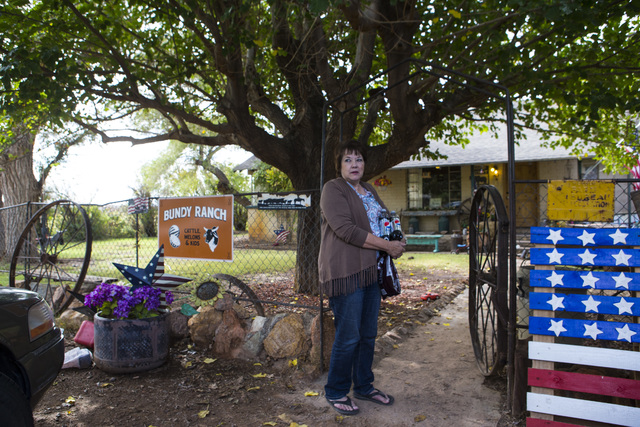Carol Bundy, wife of rancher Cliven Bundy, stands at Bundy Ranch in Bunkerville on Friday, Oct. 28, 2016. Members of an armed group that staged a takeover of the Malheur National Wildlife Refuge n ...