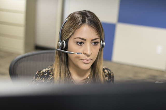 Elizabeth Amaya takes calls at NV Energy in Las Vegas on Wednesday, Oct. 26, 2016. Loren Townsley/Las Vegas Review-Journal Follow @lorentownsley