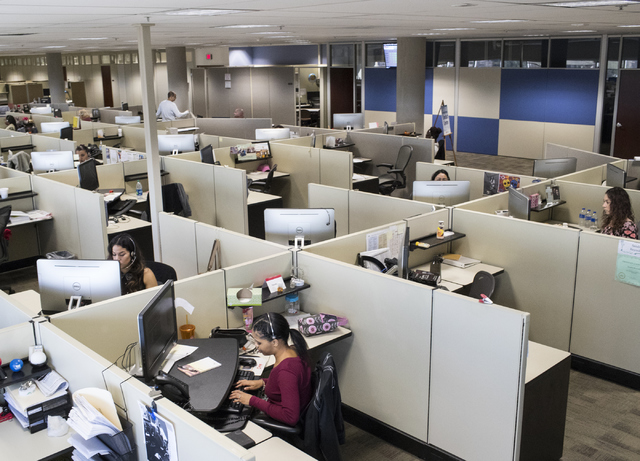 NV Energy call center employees work in the center on Wednesday, Oct. 26, 2016, in Las Vegas. Loren Townsley/Las Vegas Review-Journal Follow @lorentownsley