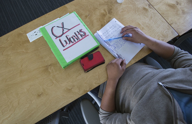 CXWorks student Brandon Miller takes notes during class at the Historic Westside School on Wednesday, Oct. 26, 2016. Richard Brian/Las Vegas Review-Journal Follow @vegasphotograph