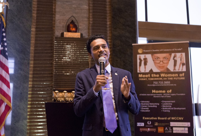 Independent candidate Reuben D'Silva for the 1st Congressional District speaks during the Women's Chamber of Commerce of Nevada luncheon at the Bali Hai Golf Club Friday, Aug. 19, 2016, in Las Veg ...