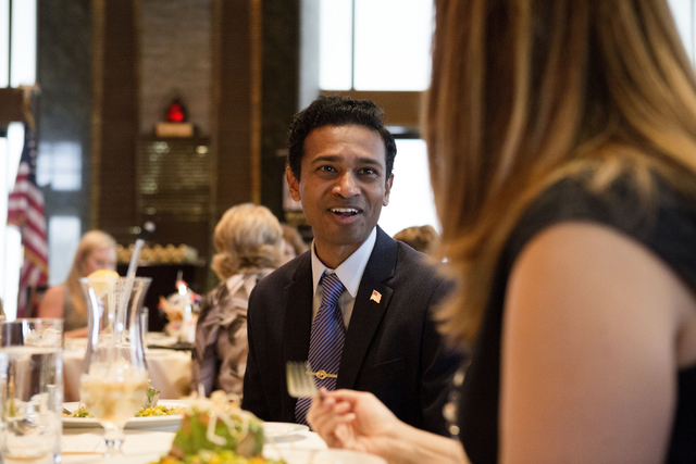 Independent candidate Reuben D'Silva for the 1st Congressional District talks during the Women's Chamber of Commerce of Nevada luncheon at the Bali Hai Golf Club Friday, Aug. 19, 2016, in Las Vega ...