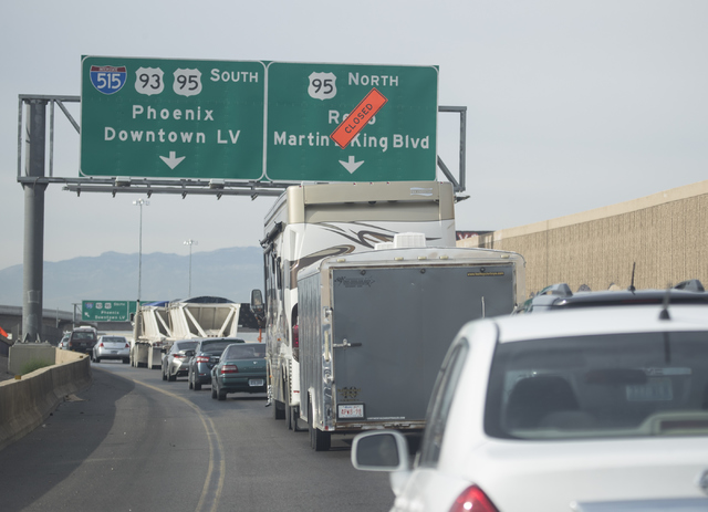 The Martin Luther King Boulevard exit off of Interstate 15 south is closed for construction on Thursday, Oct. 27, 2016, in Las Vegas. Loren Townsley/Las Vegas Review-Journal Follow @lorentownsley