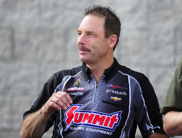 NHRA Mello Yello Series Pro Stock driver Greg Anderson looks during qualifying for the Toyota NHRA Nationals at The Strip at Las Vegas Motor Speedway in Las Vegas Friday, Oct. 28, 2016. Josh Holmb ...