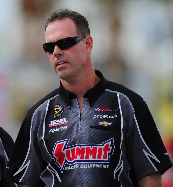 NHRA Mello Yello Series Pro Stock driver Jason Line  looks during qualifying for the Toyota NHRA Nationals at The Strip at Las Vegas Motor Speedway in Las Vegas Friday, Oct. 28, 2016. Josh Holmber ...
