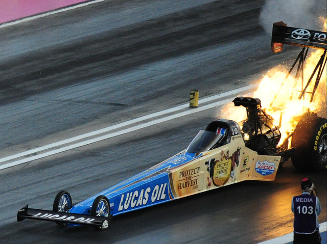 The engine onboard the Top Fuel dragster driven by NHRA Mello Yello Series driver Morgan Lucas explodes during qualifying for the Toyota NHRA Nationals at The Strip at Las Vegas Motor Speedway in  ...