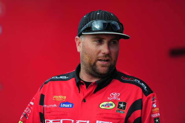 Top Fuel driver Shawn Langdon is seen in the paddock in between qualifying session for the NHRA Mello Yello Series Toyota Nationals at The Strip at Las Vegas Motor Speedway in Las Vegas Friday, Oc ...