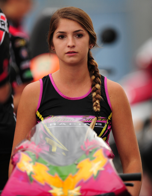 Pro Stock Motorcycle rider Melissa Surber looks on during the second qualifying session for the NHRA Mello Yello Series Toyota Nationals at The Strip at Las Vegas Motor Speedway in Las Vegas Frida ...