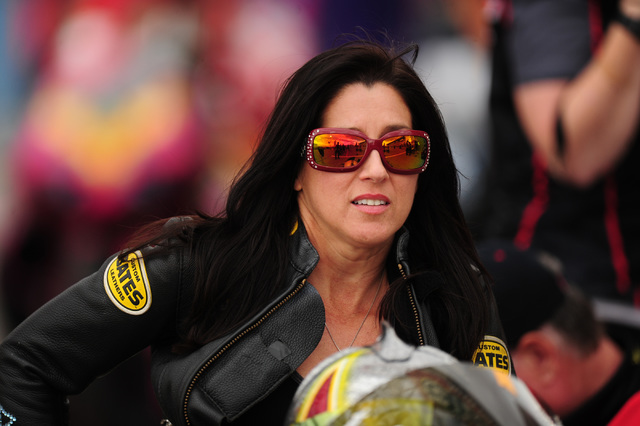 Pro Stock Motorcycle rider Angelle Sampey looks on during the second qualifying session for the NHRA Mello Yello Series Toyota Nationals at The Strip at Las Vegas Motor Speedway in Las Vegas Frida ...