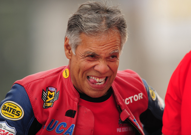 Pro Stock Motorcycle rider Hector Arana makes a funny face during the second qualifying session for the NHRA Mello Yello Series Toyota Nationals at The Strip at Las Vegas Motor Speedway in Las Veg ...