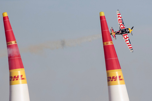 Pilot Martin Sonka of the Czech Republic flies his Zivko Edge 540 V3 aircraft on the final day of the Red Bull Air Race World Championship at the Las Vegas Motor Speedway, Sunday, Oct. 16, 2016. ( ...