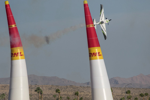 Chilean pilot Cristian Bolton flies an Edge 540 V2 on the final day of the Red Bull Air Race World Championship at the Las Vegas Motor Speedway, Sunday, Oct. 16, 2016. (Richard Brian/Las Vegas Rev ...