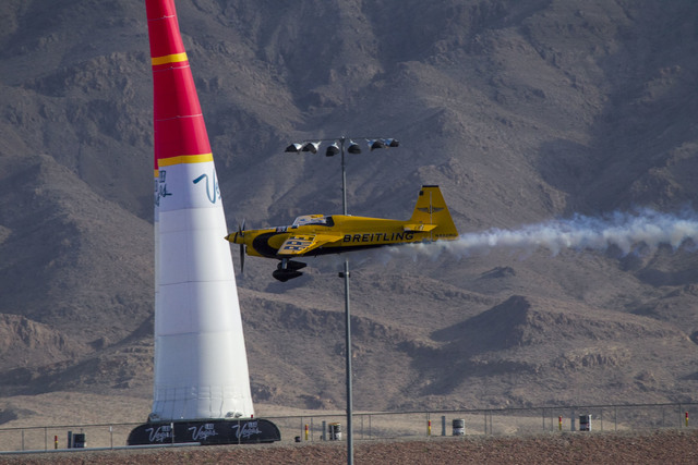 Pilot Nigel Lamb of Great Britain flies his MXS-R aircraft on the final day of the Red Bull Air Race World Championship at the Las Vegas Motor Speedway, Sunday, Oct. 16, 2016. (Richard Brian/Las V ...