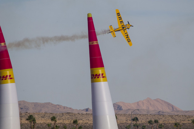 Pilot Nigel Lamb, of Great Britain, flies his MXS-R aircraft on the final day of the Red Bull Air Race World Championship at the Las Vegas Motor Speedway, Sunday, Oct. 16, 2016. (Richard Brian/Las ...