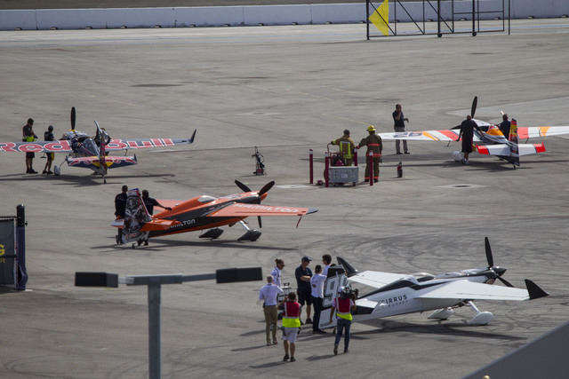 Air race teams prepare their aircraft for flight on the final day of the Red Bull Air Race World Championship at the Las Vegas Motor Speedway, Sunday, Oct. 16, 2016. (Richard Brian/Las Vegas Revie ...