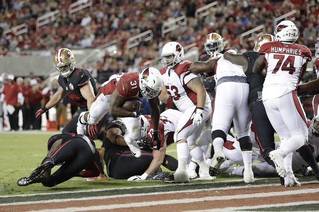 Arizona Cardinals running back David Johnson (31) runs for a touchdown against the San Francisco 49ers during the second half of an NFL football game in Santa Clara, Calif., Thursday, Oct. 6, 2016 ...