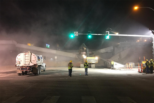 A bridge span is collapsed on Martin Luther King Blvd. in Las Vegas (NDOT)