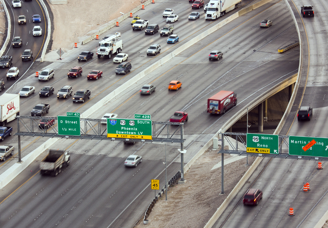 """Morning traffic flows through the """"Spaghetti Bowl"""" on Thursday, Oct. 27, 2016. Interstate 15 southbound and northbound ramps connecting to northbound U.S. Highway 95 will be clos ..."""