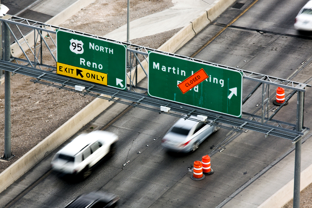 """Morning traffic, seen from the top of the World Market Center, flows through the """"Spaghetti Bowl"""" on Thursday, Oct. 27, 2016. Interstate 15 southbound and northbound ramps connecting to northbound ..."""