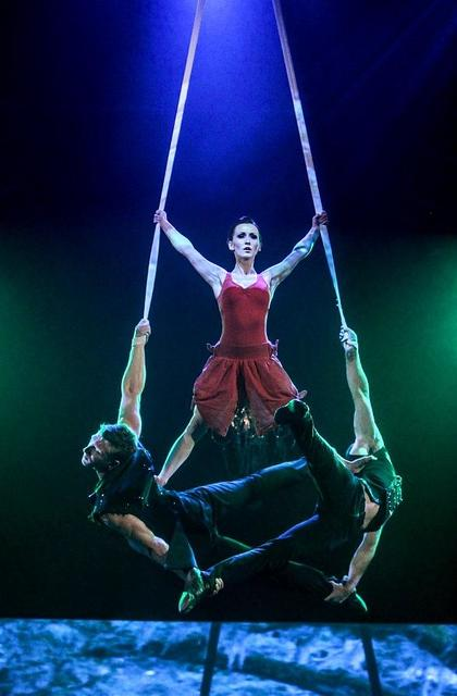 Cirque du Soleil artist and Circus Couture Erica Linz is shown at the center of the act Trio Matrix. (Courtesy photo)