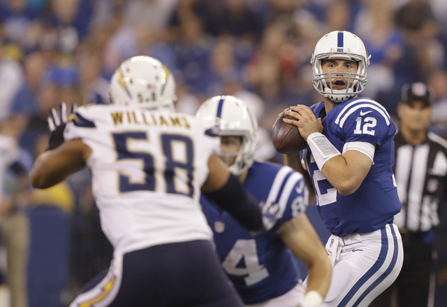 Indianapolis Colts quarterback Andrew Luck (12) throws during the first half of an NFL football game against the San Diego Chargers, Sunday, Sept. 25, 2016, in Indianapolis. (AP Photo/Darron Cummings)