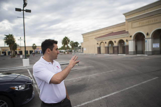 Ignacio Prado, founder of Futuro Academy, talks about the ideal site of his proposed charter school at Lamb Boulevard and Washington Avenue in Las Vegas on Friday, Oct. 28, 2016. Chase Stevens/Las ...