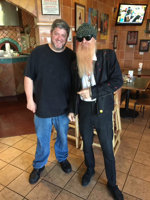 Chef Dave Samuels, left, with ZZ Top's Billy Gibbons at Carlito's Burritos. (Courtesy)