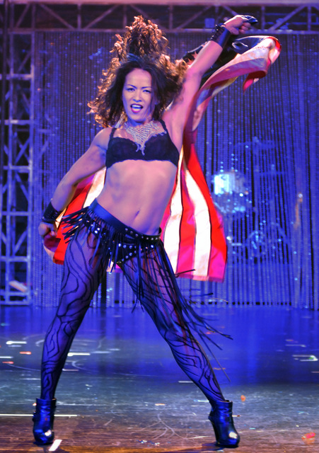 """Ruthy Inchaustegui performs during a rehearsal for """"Cherry Boom Boom"""" at the Tropicana on Friday, Sept. 2, 2016. (Bill Hughes/Las Vegas Review-Journal)"""