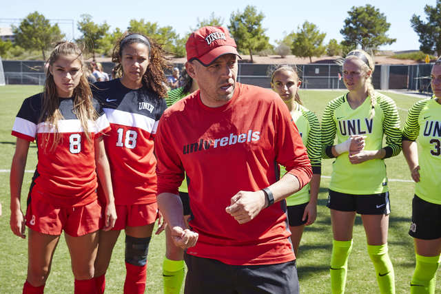 UNLV women's soccer coach Chris Shaw, shown Tuesday, saw his team clinch the Mountain West title Friday with a 4-2 victory at UNR. (Josh Hawkins/UNLV Photo Services)