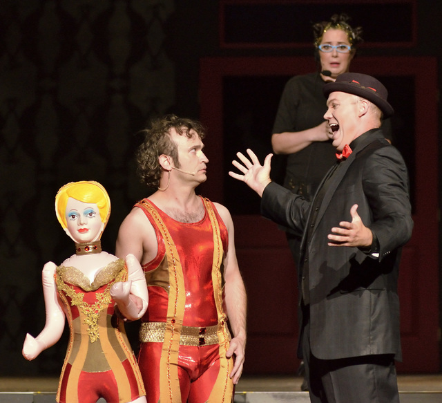"Jimmy Slonina, left, Will Howard, right, and Kelsey Custard perform during the Circus Couture ""Lucky"" fundraising event benefitting the Children's Specialty Center of Nevada a ..."